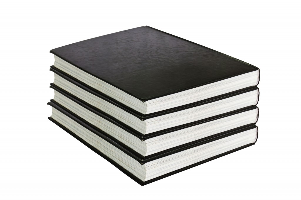 black book in row isolated